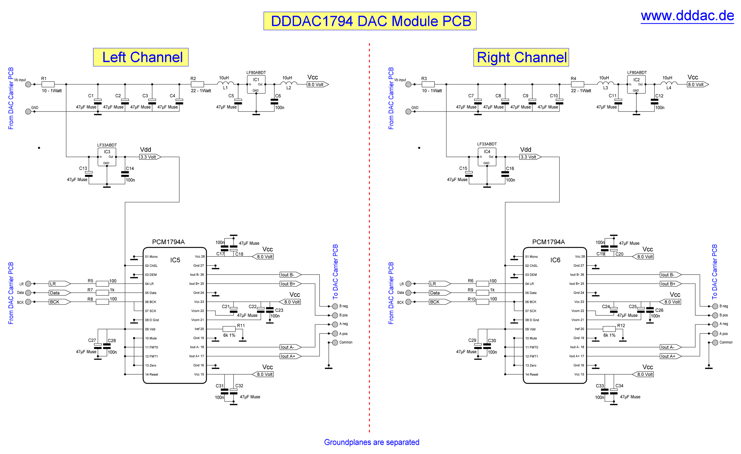 Dddac 1794 Nos Dac Non Oversampling With Pcm1794 No Digital Usb Splitter Schematic Click For Larger Image